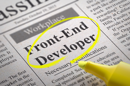 frontend: Front-End Developer Vacancy in Newspaper. Job Search Concept.