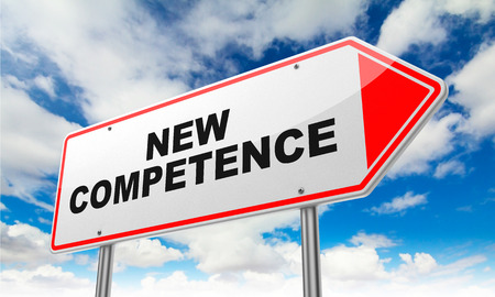 competence: New Competence on Red Road Sign on Sky Background. Stock Photo