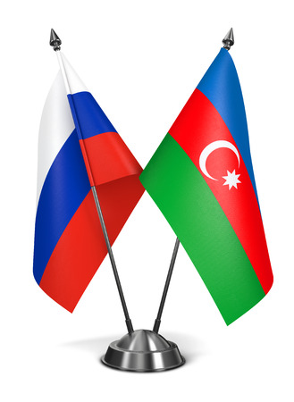 diplomatic: Russia and Azerbaijan - Miniature Flags Isolated on White Background.