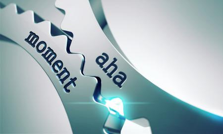 cognicion: Momento de Aha sobre el Mecanismo de Ruedas dentadas de metal. Foto de archivo