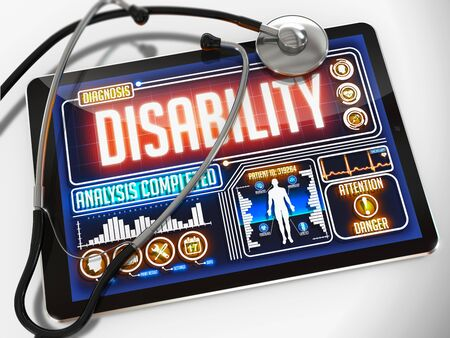 limitations: Disability - Diagnosis on the Display of Medical Tablet and a Black Stethoscope on White Background.