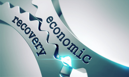 economic recovery: Economic Recovery on the Mechanism of Metal Cogwheels. Stock Photo