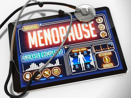 estrogen: Menopause - Diagnosis on the Display of Medical Tablet and a Black Stethoscope on White Background. Stock Photo