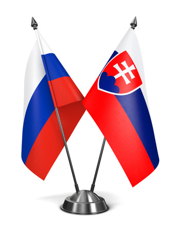 slovak republic: Russia and Slovakia - Miniature Flags Isolated on White Background.