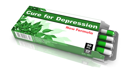 somatic: Cure for Depression - Green Open Blister Pack Tablets Isolated on White. Stock Photo