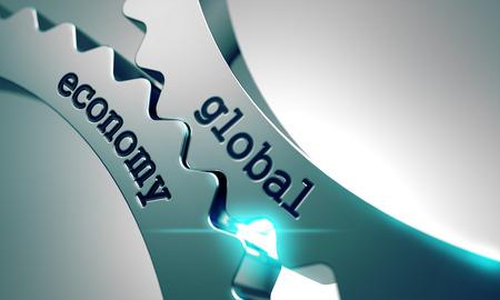 relaciones laborales: Econom�a Global sobre el Mecanismo de Metal Gears. Foto de archivo
