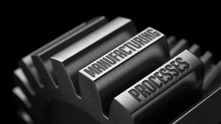 productividad: Procesos de manufactura en los engranajes de metal en Fondo Negro.