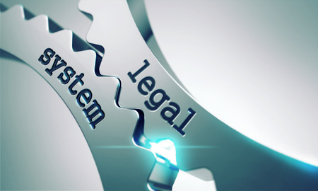 Legal System on the Mechanism of Metal Cogwheels. 스톡 콘텐츠