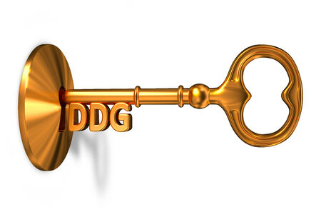 financial condition: DDG - Golden Key is Inserted into the Keyhole Isolated on White Background