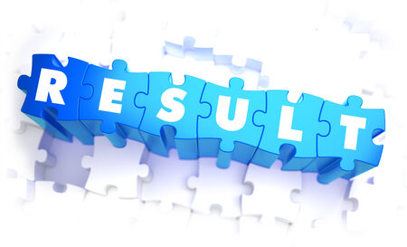 result: Result - Word in Blue Color on Volume  Puzzle. 3D Illustration. Stock Photo