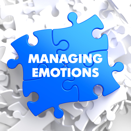 continence: Managing Emotions on Blue Puzzle on White Background.