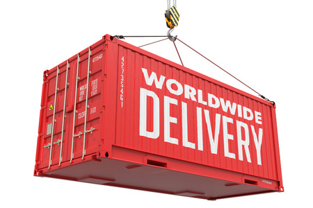 mondial: Worldwide Delivery - Red Cargo Container Hoisted by Hook, Isolated on White Background.