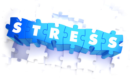 tense: Stress - Word in Blue Color on Volume  Puzzle. 3D Illustration.