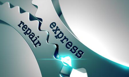 prophylactic: Express Repair on the Mechanism of Metal Gears. Stock Photo