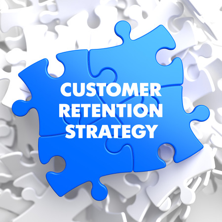 retention: Customer Retention Strategy on Blue Puzzle on White Background.