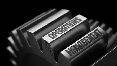 Operations Management  on the Metal Gears on Black Background.
