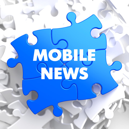 urgent announcement: Mobile News on Blue Puzzle on White Background. Stock Photo