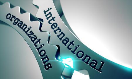 International Organizations on the Mechanism of Metal Gears. 免版税图像