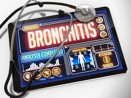 bronchitis: Bronchitis - Diagnosis on the Display of Medical Tablet and a Black Stethoscope on White Background.