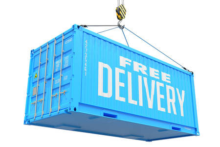 Free Delivery - Blue Cargo Container Hoisted by Hook, Isolated on White Background. photo
