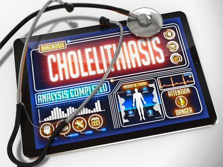 cholecystitis: Cholelithiasis - Diagnosis on the Display of Medical Tablet and a Black Stethoscope on White Background.