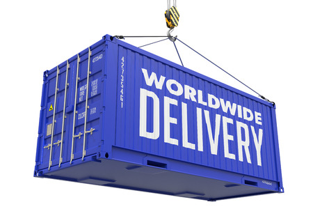 mondial: Worldwide Delivery - Blue Cargo Container Hoisted by Hook, Isolated on White Background.