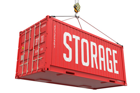 stockroom: Storage - Red Cargo Container Hoisted by Hook, Isolated on White Background.