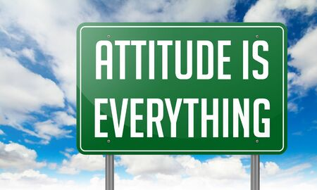 perceived: Attitude is Everything wording on Green Highway on Sky Background.