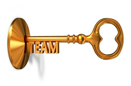 inserted: Team - Golden Key is Inserted into the Keyhole Isolated on White Background