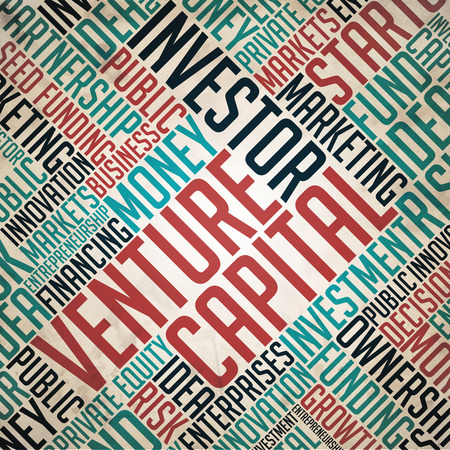 fulvous: Venture Capital Background - Grunge Wordcloud Concept on Old Paper.