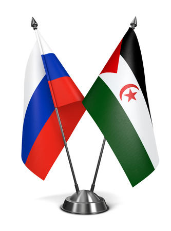 arab flags: Russia and Sahrawi Arab Democratic Republic - Miniature Flags Isolated on White Background.