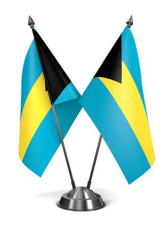 independency: Bahamas - Miniature Flags Isolated on White Background. Stock Photo
