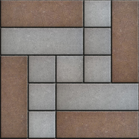 consisting: Brown - Gray Pavement Consisting of Rectangles and Squares. Seamless Tileable Texture.
