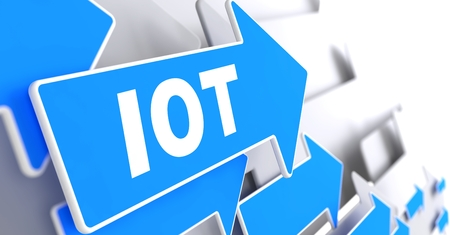 IOT Direction Sign - Blue Arrow on a Grey Background.