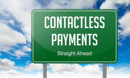 contactless: Contactless Payments - Highway Signpost on Sky Background.