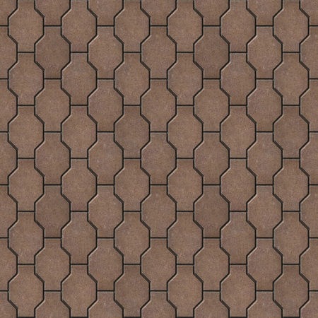 slabs: Brown Decorative Wavy Paving Slabs. Seamless Tileable Texture. Stock Photo