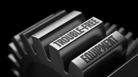 serviceable: Trouble-Free Equipment on the Metal Gears on Black Background. Stock Photo