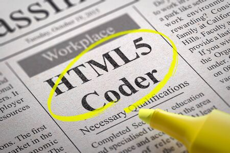 coder: HTML 5 Coder Jobs in Newspaper. Job Search Concept.
