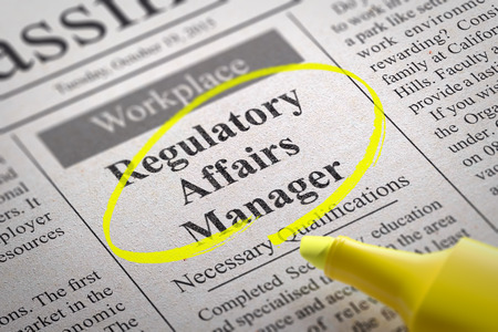 affairs: Regulatory Affairs Manager Jobs in Newspaper. Job Search Concept.