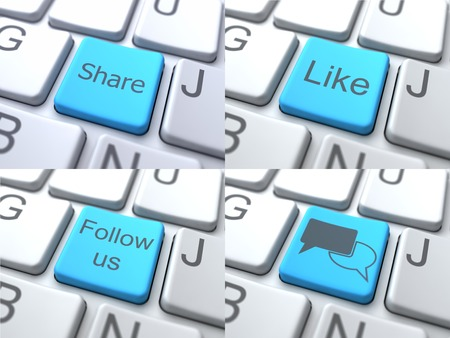 consisting: E-Communication Concept - Blue Button on Keyboard Consisting of Share.
