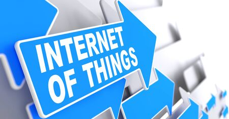 things: Internet of Things Direction Sign - Blue Arrow on a Grey Background.