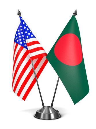 bengali: USA and Bangladesh - Miniature Flags Isolated on White Background. Stock Photo