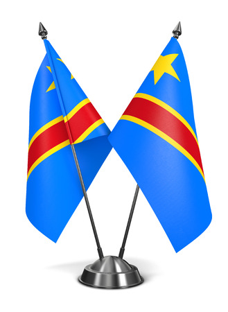 totalitarianism: Democratic Republic Congo - Miniature Flags Isolated on White Background.