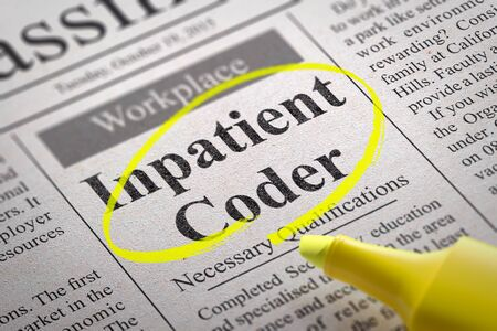 coder: Inpatient Coder Vacancy in Newspaper. Job Search Concept.