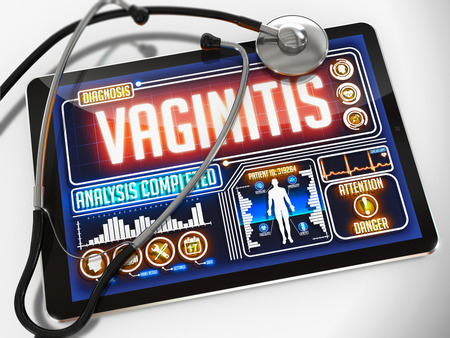 pap smear: Vaginitis - Diagnosis on the Display of Medical Tablet and a Black Stethoscope on White Background.
