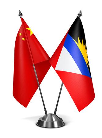 antigua flag: China, Antigua and Barbuda - Miniature Flags Isolated on White Background.
