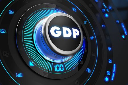 subsidize: GDP Button with Glowing Blue Lights on Black Console. Stock Photo