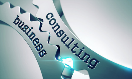 training consultant: Business Consulting on the Mechanism of Metal Gears. Stock Photo