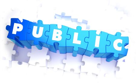 dissemination: Public - Word in Blue Color on Volume  Puzzle. 3D Illustration.