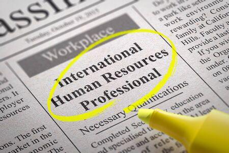 vacante: Recursos Humanos Internacional Vacante Profesional en el Peri�dico. B�squeda de empleo Concept. Foto de archivo